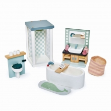 סט ריהוט לבית בובות מעץ - חדר אמבטיה tender leaf toys