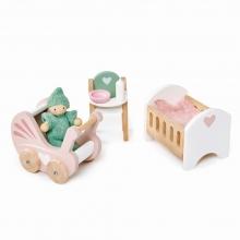 סט ריהוט חדר תינוק לבית בובות tender leaf toys