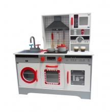 מטבח עץ מודרני אפור אדום לילדים כולל 10 אביזרים