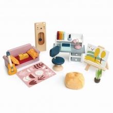 סט ריהוט מעץ לבית בובות 22 חלקים - חדר עבודה tender leaf toys