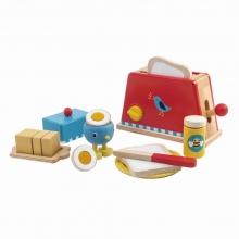 סט טוסטר וארוחת בוקר למשחק מעץ 15 חלקים tender leaf toys