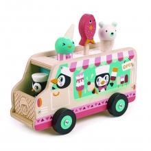 מכונית גלידה מעץ  פינגונים טנדר ליף