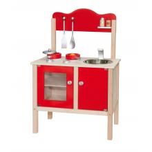 מטבח אדום סקנדינבי מעץ לילדים כולל  אביזרים ויגה