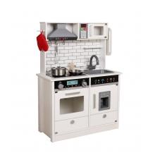 מטבח עץ קלאסי לבן לילדים כולל 9 אביזרים