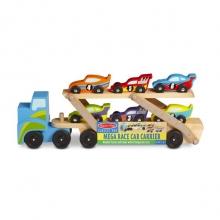 מוביל מכוניות מרוץ ענק עם 6 מכוניות מעץ מליסה ודאג