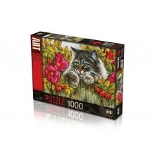 פאזל חתול ופרחים 1000 חל
