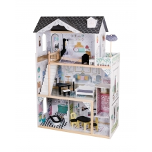 בית בובות מעץ יובל עם מעלית ואביזרים