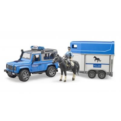 גיפ לנד רובר דיפנדר משטרה גורר סוס ושוטר - bruder