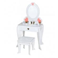 שידת איפור ויופי מעץ לבנה עם כיסא