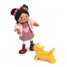 בובת עץ - איאנה והחתול שלה tender leaf toys