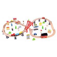 סט רכבת צעצוע עץ קלאסי  70 חלקים